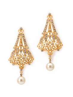 Contemporary Design Molten Gold Earrings With Shimmering Crystals - Aahana Creations