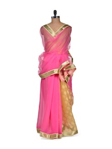 Bollywood Inspired Pink And Gold Saree - Purple Oyster