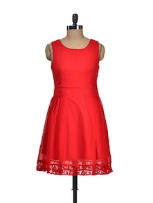 Red Hot Sleeveless Lace Dress - Besiva