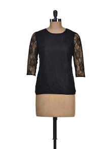 Chic Black Lace Top - Besiva