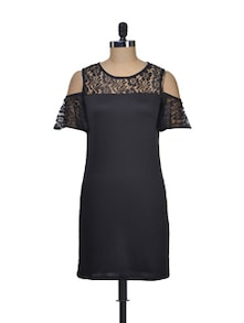 Bold And Black Net Dress - @ 499