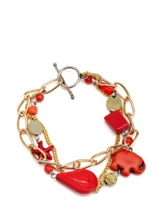 Red And Gold Chunky Charm Bracelet - Eesha Zaveri; Jewellery By Design