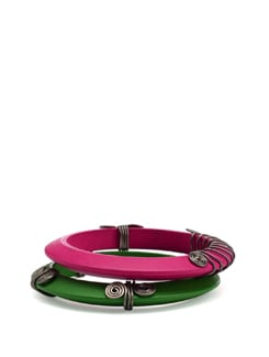 Green And Pink Wooden Bangles - Eesha Zaveri; Jewellery By Design