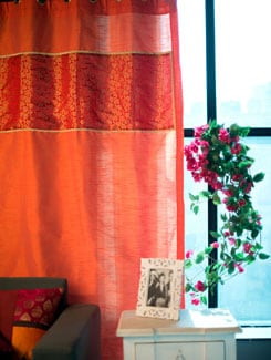 Rust Orange Poly Silk Curtain With Red And Gold Brocade Panel - Nakalchee Bandar