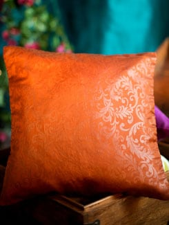 Embossed Poly Silk Cushion Cover In Brown (Looks Like Rust) - Nakalchee Bandar