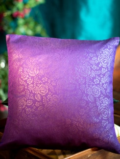 Purple Cushion Cover In Embossed Poly Silk With Rose Motifs - Nakalchee Bandar