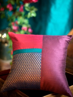 Magenta And Rust Polysilk Cushion Cover With Blue And Gold Brocade Patch - Nakalchee Bandar