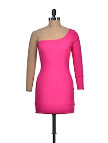 Hot Pink One-Shoulder Dress - Miss Chase