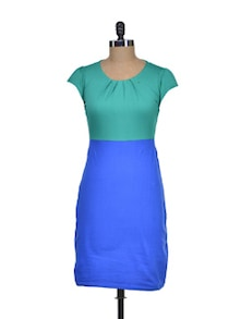 Blue & Green Colorblocked Dress - Miss Chase
