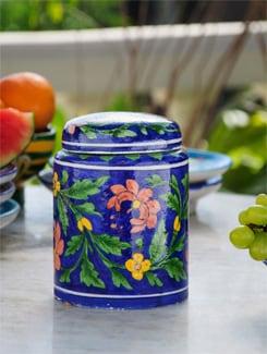 Blue Patterned Flat Lid Jar - NEERJA