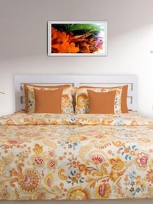Brown & White Printed Double Comforter - HOUSE THIS