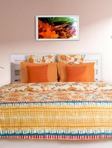Elegant Brown Printed Bedsheet With Pillow Covers - HOUSE THIS
