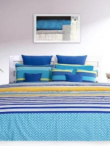 Blue & Yellow Striped Bedsheet With Pillow Covers - HOUSE THIS