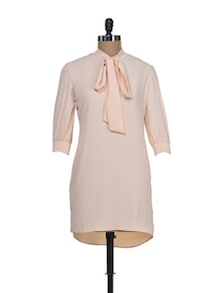 Nude Tunic With Tie Up Collar - Femella