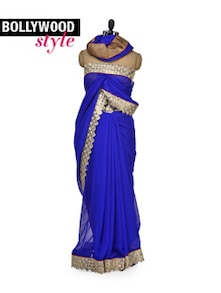 Beautiful Blue Designer Saree - Get Style At Home