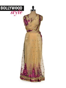 Beige & Purple Embroidered Designer Saree - Get Style At Home