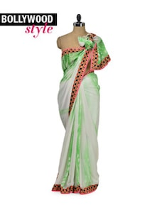 Stylish Green & White Saree - Get Style At Home