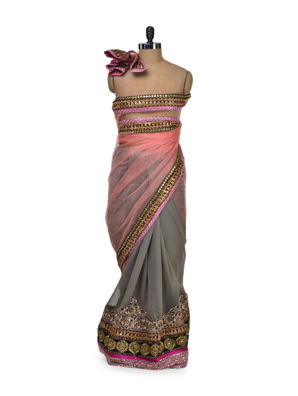 Elegant Grey & Peach Net Saree - Get Style At Home