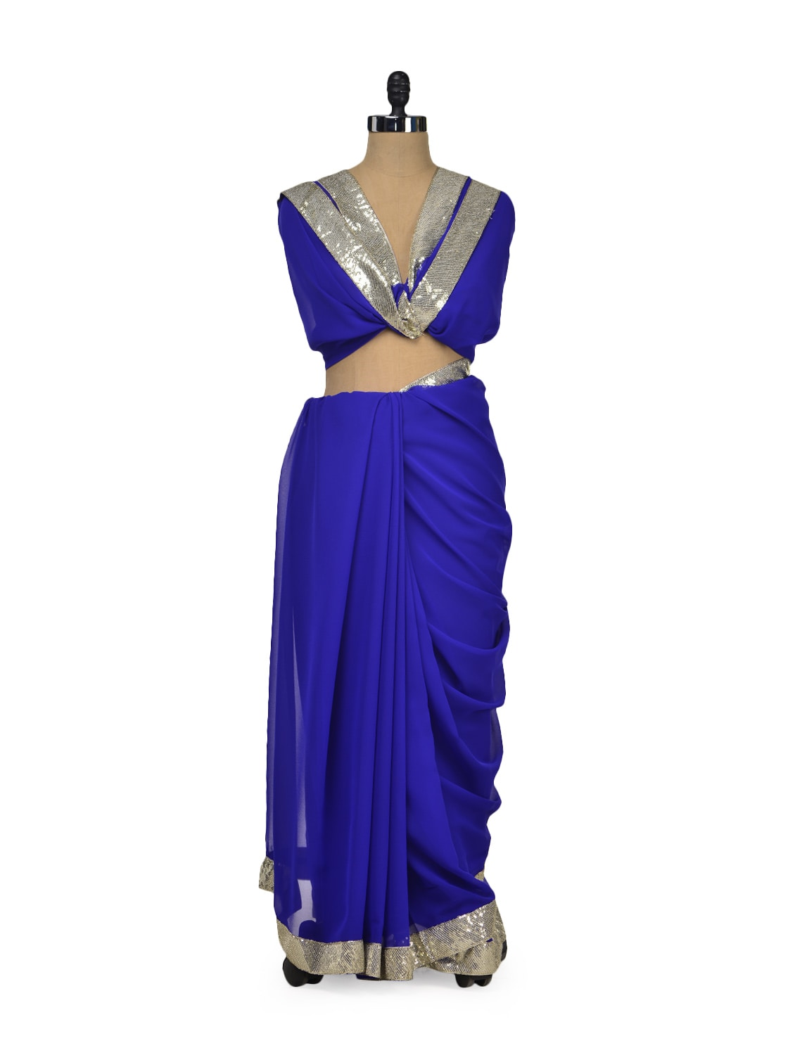 Elegant Blue & Silver Saree - Get Style At Home