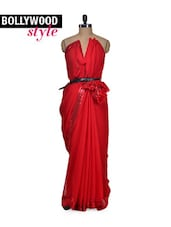 Red Hot Sequined Saree