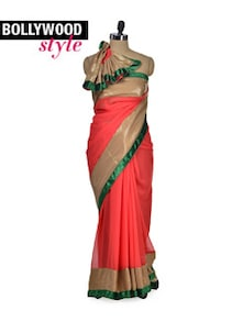 Elegant Orange & Green Saree - Get Style At Home