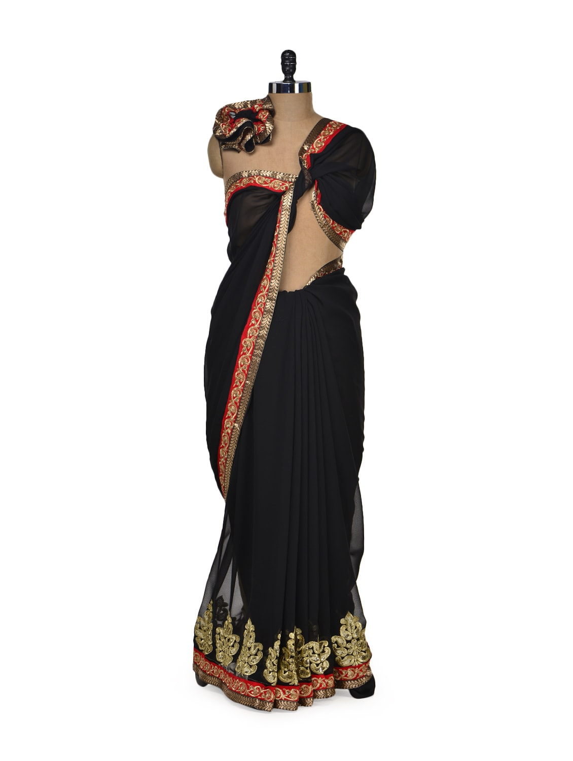 Elegant Black & Gold Designer Saree - Get Style At Home