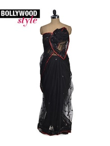 Gorgeous Black Sequined Saree - Get Style At Home