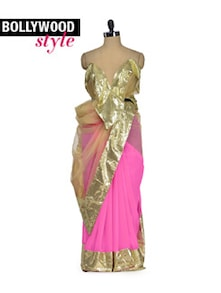 Chic Pink & Gold Designer Saree - Get Style At Home