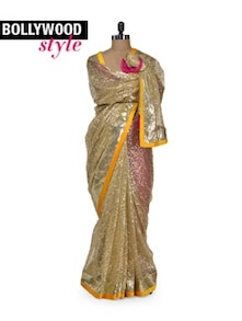 Dazzling Gold Shimmer Saree - Get Style At Home
