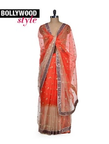 Zesty Orange Net Saree - Get Style At Home