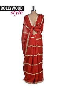 Elegant Orange & Gold Saree - Get Style At Home