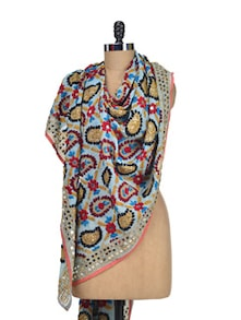 Embroidered Phulkari Dupatta In Sky Blue - Vayana