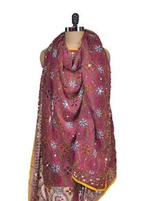 Embellished Pink Phulkari Dupatta - Vayana