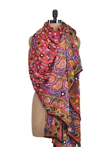 Bright Red Hand Embroidered Phulkari Dupatta - Vayana