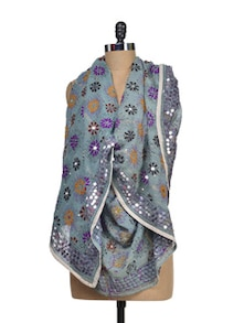 Mirror Embellished Light Blue Phulkari Dupatta - Vayana