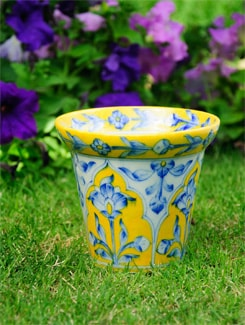 Planter In Blue And Yellow - NEERJA