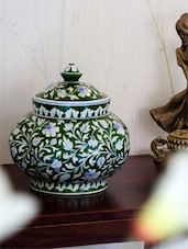 Green and White Leaf Motif Round Jar with Lid -  online shopping for Canisters & Jars