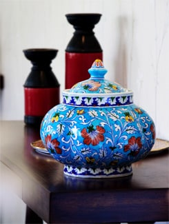 Blue Round Pot With Lid And Red Floral Motifs - NEERJA