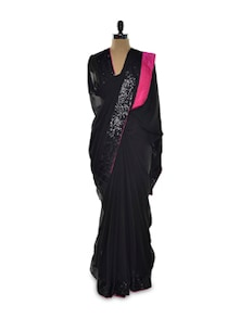 Sequined Sensation Black Georgette Saree - Istyledeals