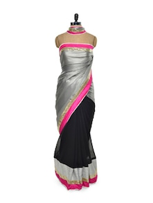 Black And Grey Georgette Saree - Istyledeals