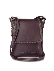 Purple Faux Leather Sling Bag - ALESSIA