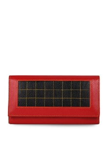 Red And Black Leather Wallet - Oleva