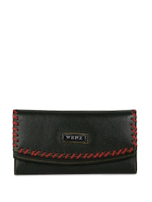 Black Leather Wallet With Red Border - Oleva