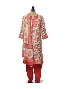 Pink And Green Floral Printed Salwar Suit - KILOL
