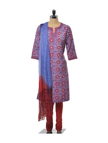 Red And Blue Floral Churidar Suit Set - KILOL