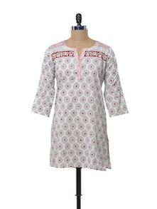 Flowery Red And Grey Kurti - KILOL