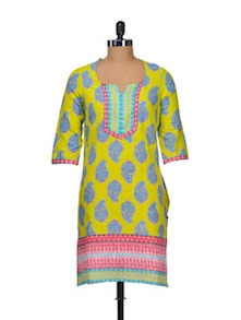 Yellow And Pink Printed Kurta - Aurelia