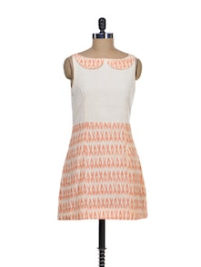 White & Orange Peter Pan Collar Dress - Desiweaves