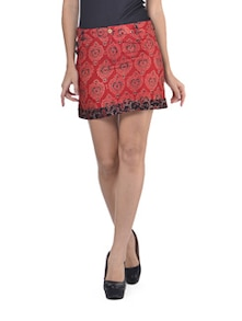 Radiant Red Short Skirt - Desiweaves