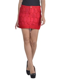 Dyed Red Short Skirt - Desiweaves